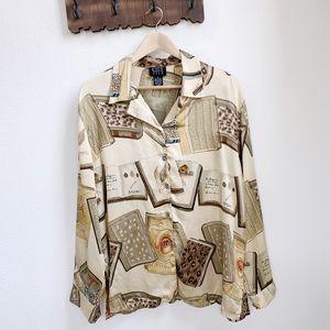 Vintage City Silk | Librarian Button Down Shirt
